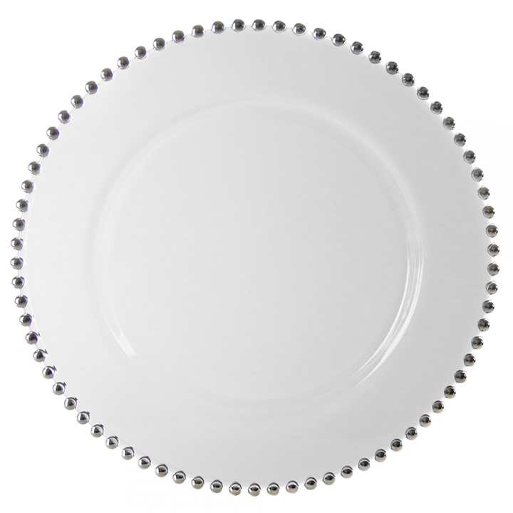 Glass Silver Beaded Charger Plate for Rent in NYC | PartyRentals.US