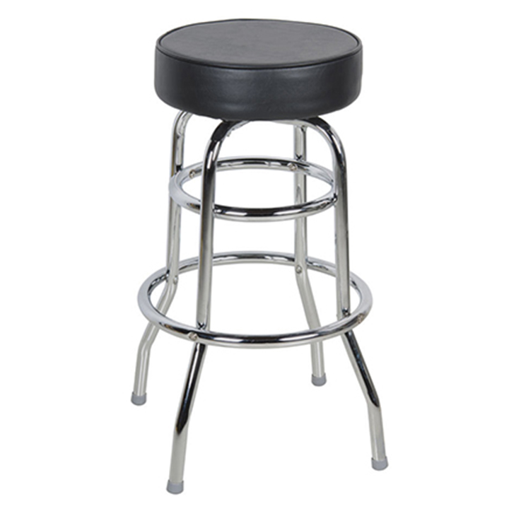 Awesome Chrome Bar Stool W Black Seat Ncnpc Chair Design For Home Ncnpcorg