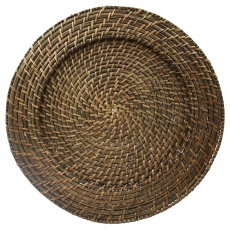 Brown Rattan Charger Plate for Rent