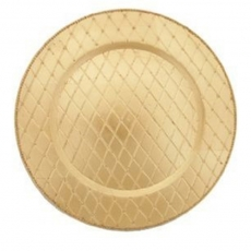 Gold Quilted Melamine Charger Plate for Rent