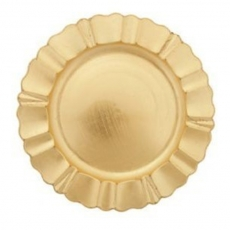 Gold Ruffle Melamine Charger Plate for Rent