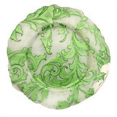 Green Damask Glass Charger Plate for Rent