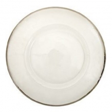 Silver Rim Hammered Glass Charger Plate for Rent