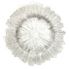 Silver Sponge Glass Charger Plate for Rent