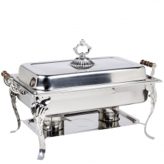 8 qt Rectangle Wood Handle Stainless Chafer for Rent