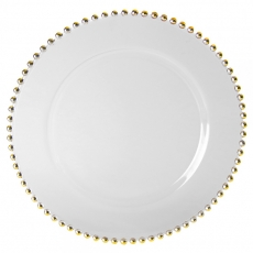 Glass Gold Beaded Charger Plate for Rent