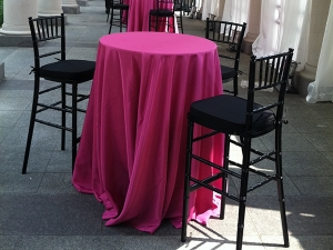 Chiavari bar stools at cocktail table