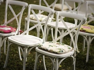 White Sonoma chairs at event