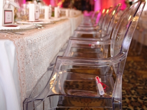 Event tables and Clear ghost chairs with arms