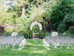 Clear ghost chairs with arms outdoor wedding