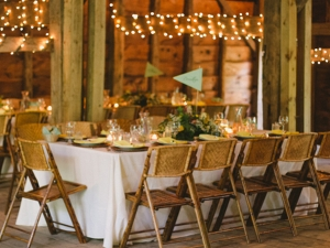 Bamboo folding chairs at event table