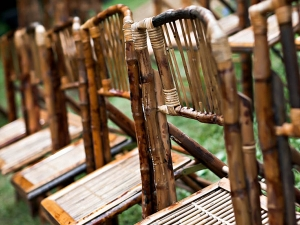 Bamboo folding chairs wedding idea
