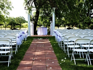 Plastic folding chairs at wedding event