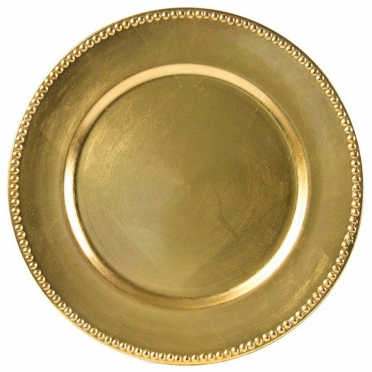 Gold Beaded Melamine Charger for Rent
