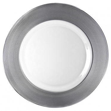 Silver Trim Charger Plate for Rent