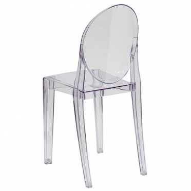 Clear ghost chair with arms side view