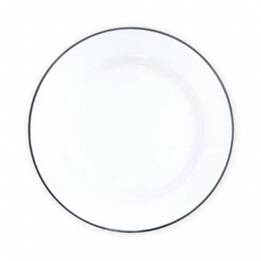 Enamelware Grey Trim Dinnerware for Rent
