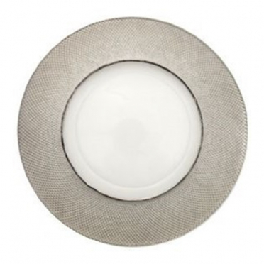 Diamond Platinum Glass Charger Plate for Rent