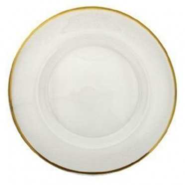 Gold Rim Pleated Glass Charger Plate for Rent