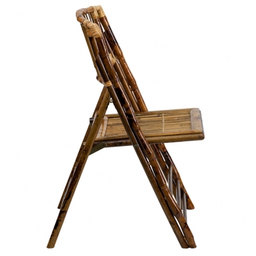 Bamboo folding chair side view