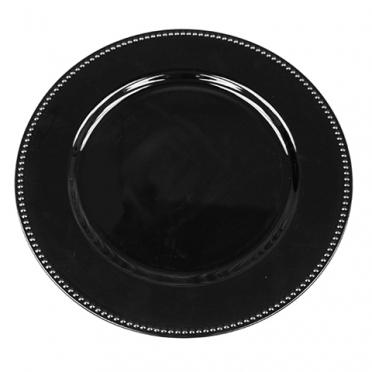 Black Beaded Melamine Charger for Rent