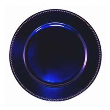 Midnight Blue Beaded Melamine Charger for Rent