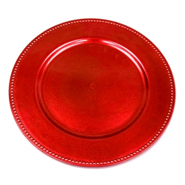 Red Beaded Melamine Charger for Rent