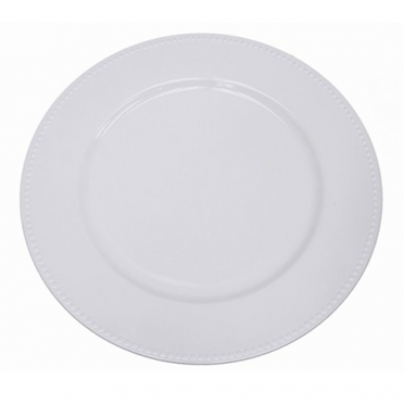 White Beaded Melamine Charger for Rent