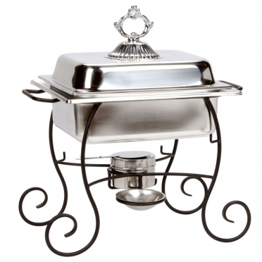 4 qt Square Stainless Chafer w/ Wrought Iron Base for Rent