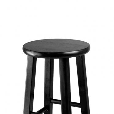 Black wood bar stool top view