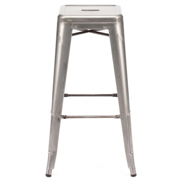 Gunmetal backless bar stool side view