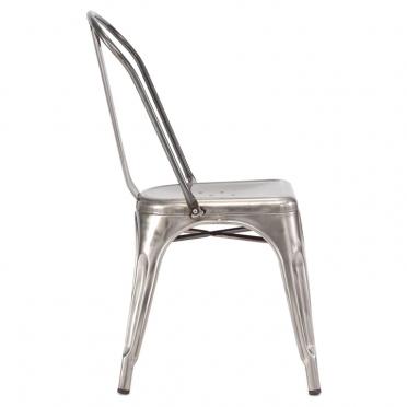 Gunmetal bistro chair side view