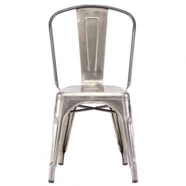 Gunmetal bistro chair front view