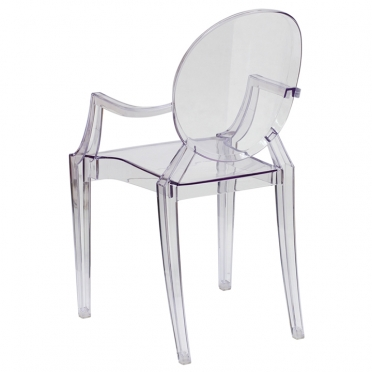 Clear ghost chair with arms back view