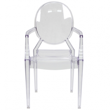 Clear ghost chair with arms front view