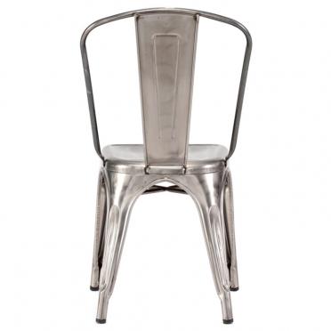 Gunmetal bistro chair back view