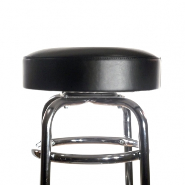 Chrome bar stool with black seat top view