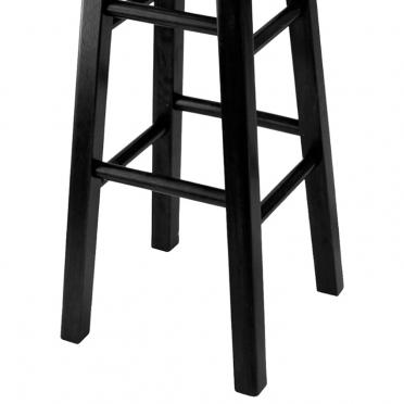 Black wood bar stool bottom view