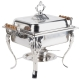 4 qt Square Wood Handle Stainless Chafer for Rent