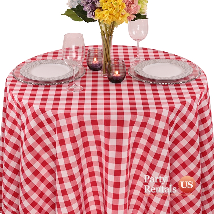 Colored Prints Check Tablecloth for Rent